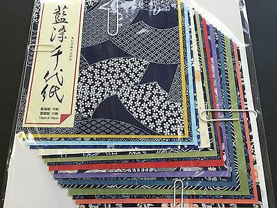 Origami Paper Washi Chiyogami Aizome 20 Sheets 20 Design 150 × 150mm 082 JAPAN