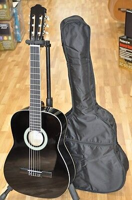 4/4 Size Adult Acoustic Classical Nylon Black Guitar Fully Pack - Free Shipping