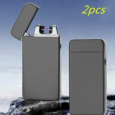 2X USB Electric Dual Arc Metal Flameless Torch Rechargeable Windproof Lighter CC