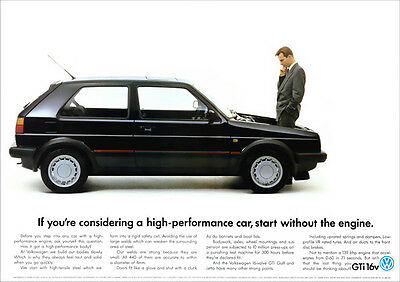 VW GOLF GTi MK2 RETRO POSTER A3 PRINT FROM CLASSIC ADVERT 1988