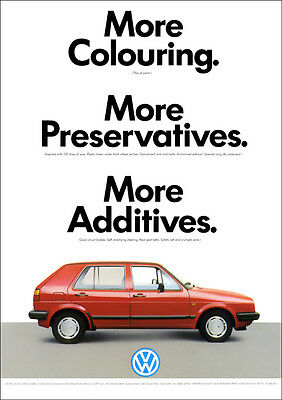 Vw Golf Mk2 Retro Poster A3 Print From Classic 1987 Advert