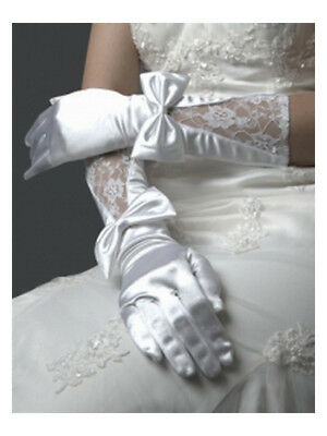 White Silk Bowknot Lace Short Gloves for Bridal Wedding Party Evening Prom