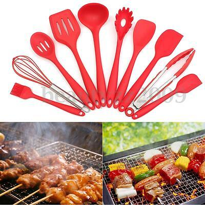 10 pcs Non-Stick Red Silicone Heat Resistant Cooking Kitchen Utensils Tool Set