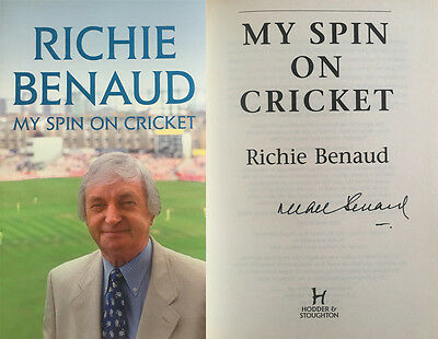 Richie Benaud Signed 'my Spin On Cricket' Autobiography Book *rare*