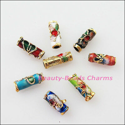 8 New Charms Mixed Enamel Cloisonne Tube Accessories Spacer Beads 3.5x9mm