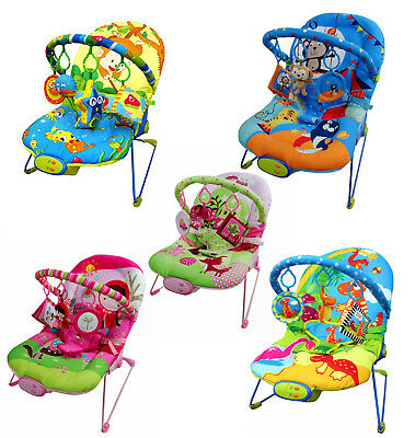 Baby Rocker Bouncer Reclining Chair Soothing Music Viberation Toys 3 Colours