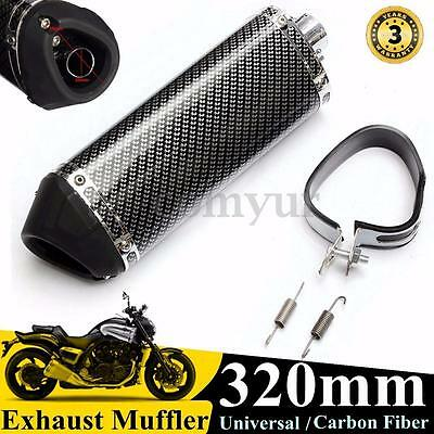 38mm Universal Motorcycle Carbon Fiber Exhaust Muffler w/ Removable Silencer