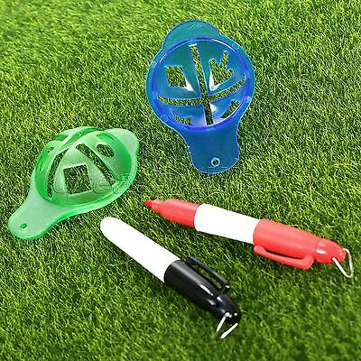 Plastic Golf Ball Line Linear Marker Template Drawing Alignment Tool W Marks Pen