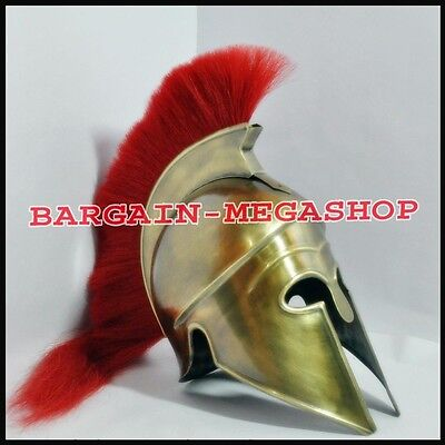 Corinthian With Red Plume Armor Helmet  Medieval Knight Crusader Spartan