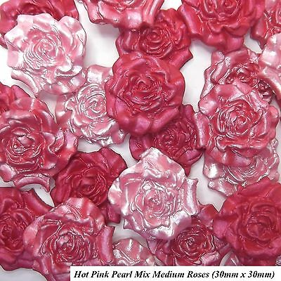12 Hot Pink Pearl Mix Sugar Roses edible wedding cake cupcake decorations 30mm