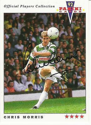 A Panini 92 card featuring & personally signed by Chris Morris of Celtic.