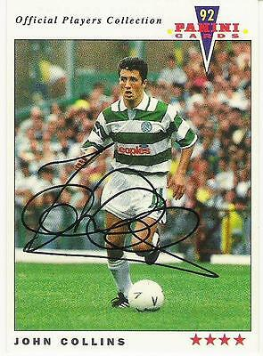 A Panini 92 card featuring & personally signed by John Collins of Celtic.