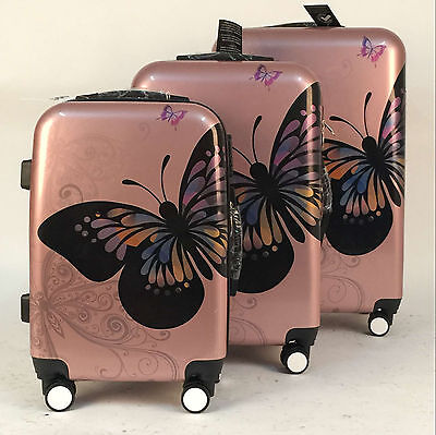 Hard Shell 4 Wheel Suitcase PC Luggage Trolley Case Cabin Hand Butterfly - Gold