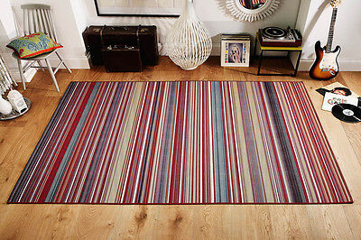 MODERN STRIPED RED MULTI Colour Flat weave Non Slip EASY CARE Rug Runner S-Large