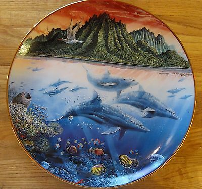 "Porcelain Danbury Underwater Paradise Collection ""Hawaiin Muses"" Dolphins Plate"
