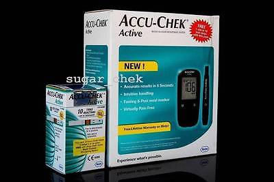 Accu-Chek Active Blood Sugar/Glucose Monitoring Device with 10 Strips Free F S
