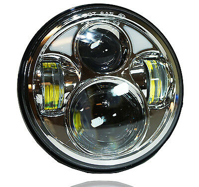Chrome 5.75 5 3/4 Motorcycle Projector LED Light Bulb Headlight fits Harley Day