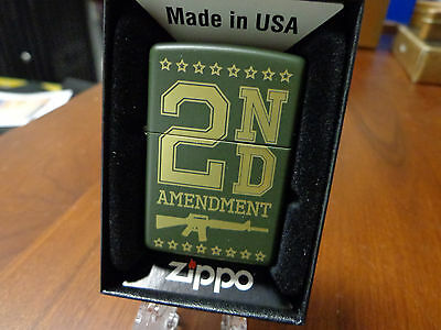 2Nd Amendment Ar-15 Green Matte Assault Rifle Zippo Lighter Mint Side Engraved
