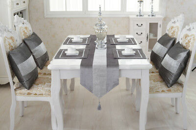 Silve Table Runner Set Diamante Cushion Chenille Placemat Tasseled Wedding Decor