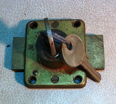 Vintage Solid Brass Yale Cabinet Lock Cupboard Lock Garage Door Lock w 2 Keys