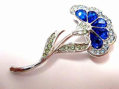 Signed Swarovski Pin Brooch Flower set with Sapphire  Crystals in Rhodium New(D)
