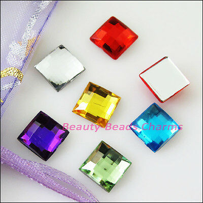 100Pcs Mixed Faceted Square Acrylic Plastic Rhinestone Flat Back 10mm