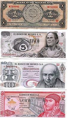 BN22 Lot of 4 Banknotes from Mexico  $ 1 - 5 - 10 - 20 Pesos