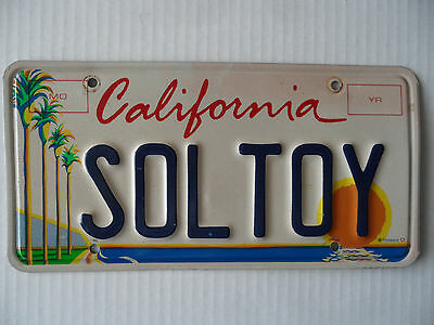 """California Vanity License Plate """"SOL TOY"""" Personalized  White Metal Blue letters"""