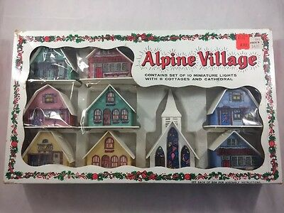 Vtg 1960s 1970s Christmas Alpine Village Cottages Cathedral Without Lights