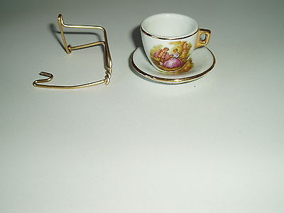 MINIATURE China CUP & SAUCER ON GOLD STAND Rdo. Benidorm