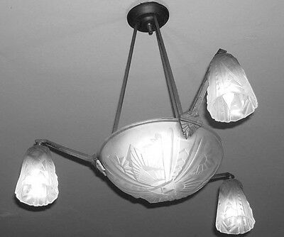 Vintage French Art Deco Ceiling Fixture Chandelier 3 Pendant Shade Dome Mouynet