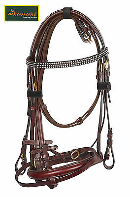 Rumani Leather Bridle in Cherry Colour With Diamante Browband and Antislip Reins