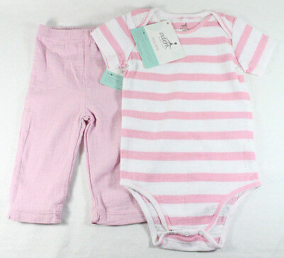 Aden + Anais 0-3 Months Baby Girl Muslin Cotton Bodysuit Striped & Pants Pink