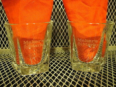 MAKERS MARK BOURBON ~ SET of 2 ~ NEW ~ HEAVY Etched 8OZ Rocks Glasses USA MADE