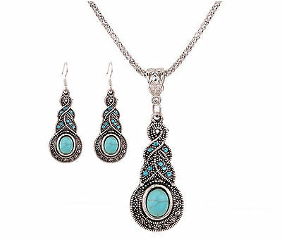 Fashion Elegant and delicate all-match Turquoise Necklace Earrings