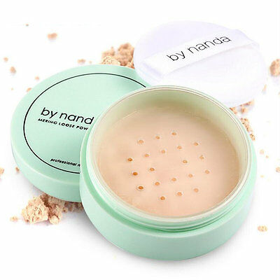 3 Color Translucent Loose Powder With Puff Smooth Face Makeup Foundation AU
