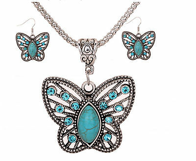 All-match Butterfly shape Elegant delicate fashionTurquoise Necklace Earrings