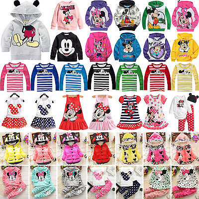 Cute Baby Kids Girls Mickey Minnie Hoodies Coat T Shirt Tops Pants Dress Outfits