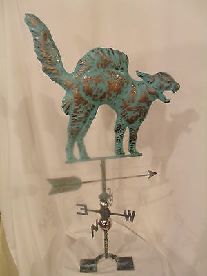 LARGE Handcrafted 3Dimensional Hunting CAT Weathervane Copper Patina Finish