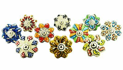 10 Pieces Dotted Mix Color Beautiful Multi Stylish Designed Ceramic Knobs