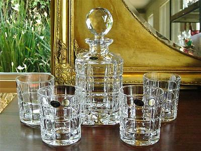 "Contemporary Bohemia Crystal ""Glacier"" 5 pc set - decanter and 4 tumblers. NEW"