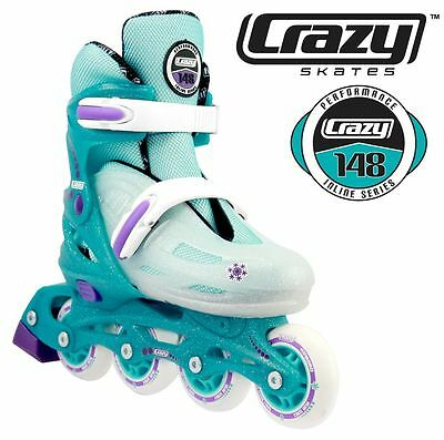 Crazy Teal Glitter Sparkle Adjustable Rollerblades 4 sizes in 1 Inline Skates!