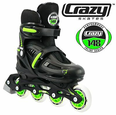 Crazy Black Adjustable Rollerblades 4 sizes in 1 Inline Skates!Kids Inline Skate