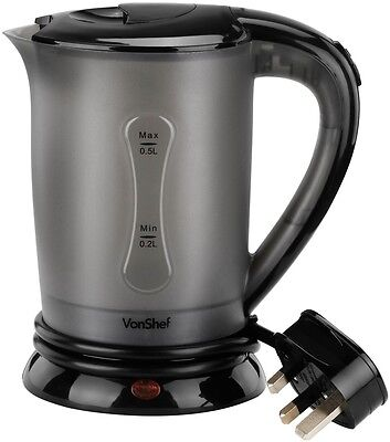 Vonshef Electric Portable Dual Voltage Travel Jug Kettle 0.5L With 2 Cups Black