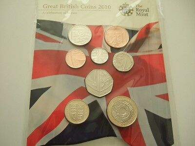2010 Royal Mint Great British Coins Set, New Sealed And As Issued. 2010 Coin Set