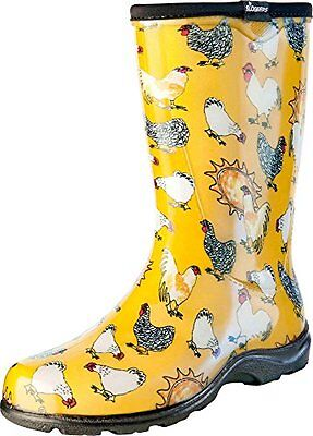 Sloggers-Women's Rain&GardenChicken Print Collection Garden Boots,Size6,Daffodil
