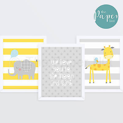 "Unisex Nursery Art Print Yellow & Grey 8""x10"" Three Pack 