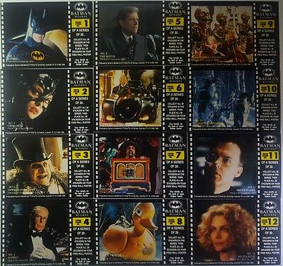 Batman Returns Movie Card Sticker Set (20) DYNAMIC AUSTRALIA  1992