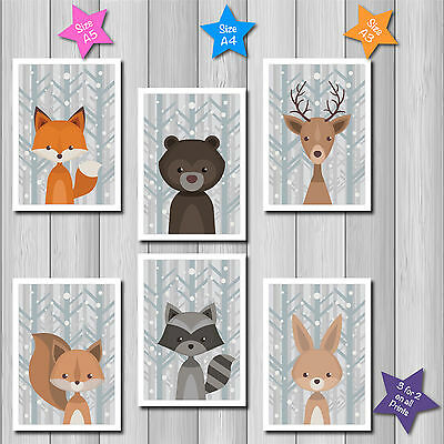 SET of 6 WINTER FOREST ANIMALS Nursery Baby Wall Art Print Picture