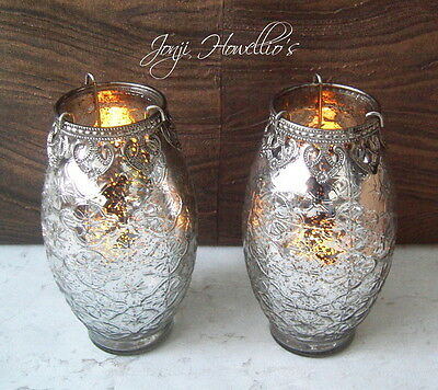 Large VINTAGE LACE Tea Light Candle Holder Tall Silver Glass Antique Effect